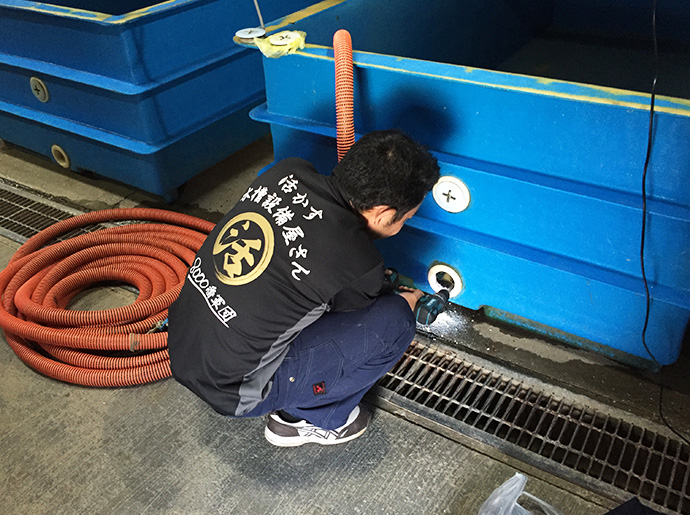 女川町での水槽設備工事 穴あけ